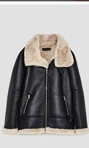 zara faux leather shearling fur lined