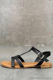 women s cute black flat sandals