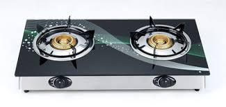 china glass top dual burner gas cooker