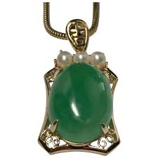 yellow gold jade pearl pendant necklace
