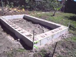 raised garden bed with concrete cinder