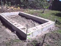 raised garden bed with concrete cinder