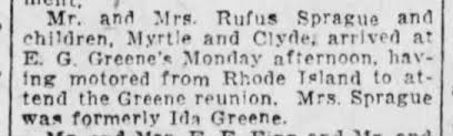 Mr Mrs Rufus Sprague, children Myrtle and Clyde in Clifford PA for Greene  Reunion - Newspapers.com