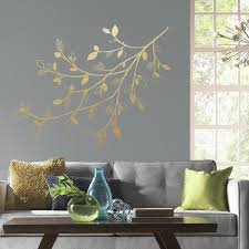 Roommates 5 In X 19 In Gold Branch 47 Piece Peel And Stick Giant Wall Decals With 3d Leaves Rmk3547gm The Home Depot
