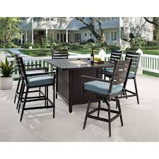7 piece patio fire pit dining table