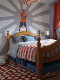 Wrestling Theme With John Cena Wall Decal In A Little Boy S Room Before And After Photos Available On My Blog Boys Bedrooms Boy Room Room