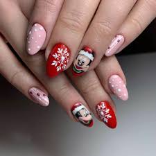 Cute Christmas nail design with Mickey Mouse and snowflakes - Nail ...