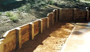 sleeper retaining walls post and rail