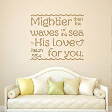 Wall Stickers Murals Battoo Psalm 93 4 Bible Verse Mightier Than The Waves Of The Sea Wall Decal Quote Vinyl Lettering Nautical Anchor Living Room Bedroom Nursery Kids Wall Decor Gold