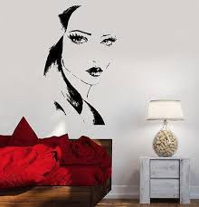 Wall Decal Fashion Girl With Beautiful Face Vinyl Sticker Unique Gift Wallstickers4you