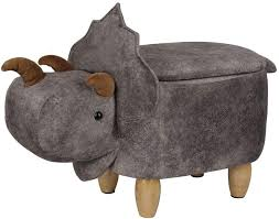 Amazon Com Gia Kids Ottoman With Storage Foot Stand And Wooden Legs Cera Triceratops Dinosaur Dark Gray Furniture Decor