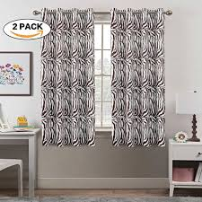 Zebra Print Brown Stylish Short Window Bold Dining Room Curtains