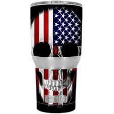 Skin Decal Vinyl Wrap For Rtic 20 Oz Tumbler Cup 6 Piece Kit Stickers Skins Cover American Skull Flag In Skull Walmart Com Walmart Com