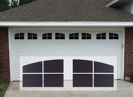 Sanfurney Magnetic Garage Door Windows Panes Arch Style Pre Cut Faux Fake Decorative Window Decals 32 Pack For 2 Car Garage Kit Gloss Black Amazon Com