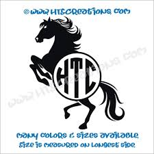 Horse Equestrian Rodeo Western Circle Monogram Vinyl Car Decal Sticker Rescue