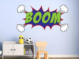 Comic Book Boom Wall Decal Sound Effect Superhero Explosion Vinyl Wall Art Contemporary Kids Wall Decor By Vwaq Vinyl Wall Art Quotes And Prints