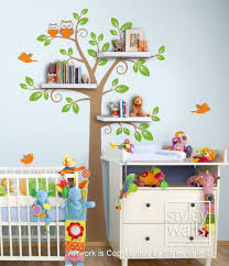 Children Wall Decal Shelves Tree Decal Shelf Tree Wall Decal Nursery Styleywalls On Artfire