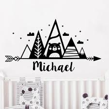 Boys Name Personalized Wall Decal For Kids Rooms Mountains Vinyl Sticker Woodland Theme Bear Nursery Decor Removable P201 Wall Stickers Aliexpress