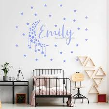 Moon And Stars Decal Custom Name Baby Room Decor Beautiful Girl Name Wall Sticker Home Decoration Diy Self Sticking Star Lc1675 Wall Stickers Aliexpress