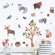 Amazon Com Decalmile Woodland Animal Wall Decals Deer Fox Tree Wall Stickers Nursery Wall Art Decor Kids Bedroom Baby Room Decoration Kitchen Dining