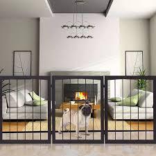 Gymax Folding Solid Wooden Pet Dog Fence Playpen Gate 3 Panel Free Standing Indoor Walmart Com Indoor Dog Fence Dog Gate Pet Fence