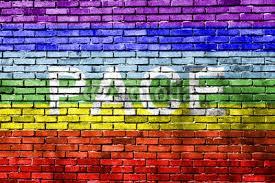 rainbow painted brick wall wall mural