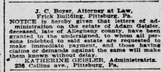 Adam Geisler estate 1 Nov 1904 Pitts Press - Newspapers.com