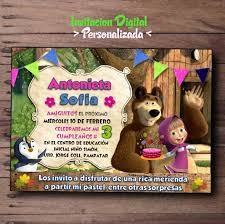 Invitacion De Masha Y El Oso Digital Personalizada Bear 100 00