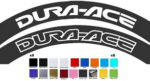 Dura Ace Wheel Rim Decals Stickers Set Of 8 Mtb Bike Racing Cycle Dh Fixie Racing Bikes Cycling Race Fixie