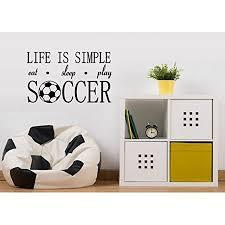 Decal Life Is Simple Eat Sleep Play Soccer Wall Or Window Decal 13 X 21 Walmart Com Walmart Com