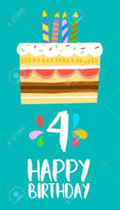 Numero 4 De Feliz Cumpleanos Tarjeta De Felicitacion Para Cuatro
