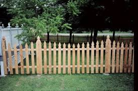The Topped Posts On This French Gothic Cedar Picket Fence Can Offer Privacy And Style To Any Back Yard Wood Picket Fence Wood Fence Fence Pickets
