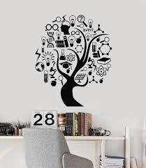 Vinyl Wall Decal Scientific Tree Science School Atoms Lab Stickers Mur Wallstickers4you