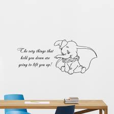 Personalised Dumbo Elephant Wall Art Decal Sticker Girls Boys Nursery Bedroom