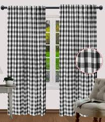 Amazon Com Dining Room Curtains Gingham Check Curtains Rod Pocket Curtain Window Treatment Decor Panel Check Curtains Reverse Window Panels Curtain Panels For Door 50x96 Inch Black White Set Of 2 Panels Kitchen Dining