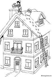 Zwarte Piet Op Het Dak Met Een Ladder Kleurplaat
