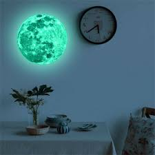 3d Large Moon Glow In The Dark Fluorescent Wall Sticker Removable Decal Us For Sale Online