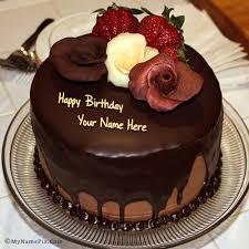 name on chocolate birthday cake