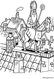 Sint Balanceert Met Paard Op Het Dak Kleurplaat
