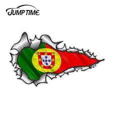 Ripped Torn Metal Design With Portugal Portuguese Flag Motif External Vinyl Car Sticker For Windows Bumper Wish