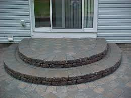 paver stone semi circle steps front