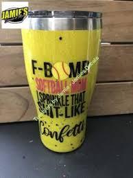 F Bomb Softball Mom Tumbler Glitter Tumbler Made To Order Jamies Decals
