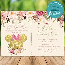 Invitaciones De Cumpleanos De Minnie Mouse Rosa Brillo De Oro