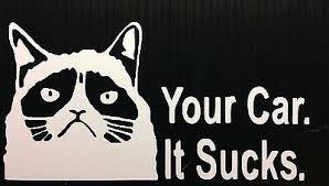 Grumpy Cat Your Car It Sucks Meme Funny Angry Cat Vinyl Decal Sticker