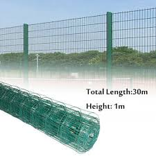 30m Steel Pvc Coated Green Fence Fencing Mesh Wire Garden Metal Post 66mm Hole