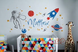 Space Wall Decal Planets Astronaut Rocket Stars Galaxy Wall Decal Walls Sticker With Persona Space Wall Decals Nursery Wall Decals Boy Nursery Wall Decals
