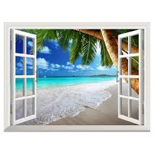 Uniquebella 3d Wall Sticker Decal Fake Window View Of Tropical Beach With Palm Tree Creative Mural Home Decor Window Wall Mural Fake Window Large Wall Murals