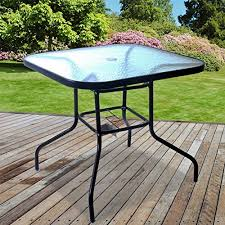 outdoor glass table square metal frame