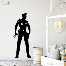 Stizzy Wall Decal Police Officer Wall Stickers For Kids Room Law Policeman Cop Modern Design Boys Bedroom Poster Gift Decor B834 Wall Stickers Aliexpress