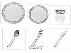 plastic plates white withsilver rim